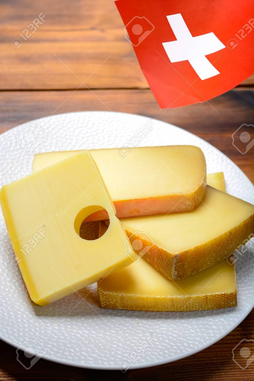 Assortment Of Swiss Cheeses Emmental Or Emmentaler Medium Hard