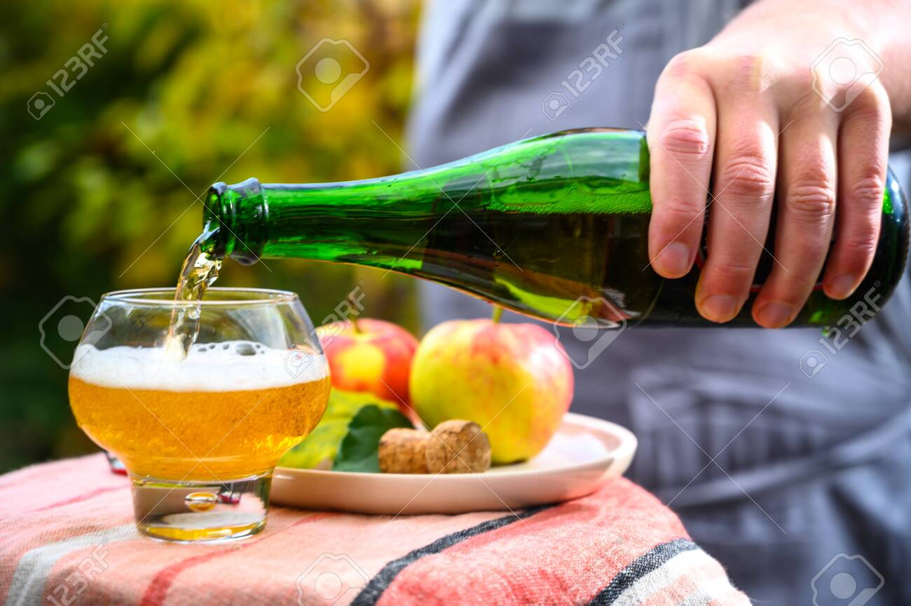 Pouring of french apple cider in glass made from new harvest apples outdoor in sunny orchard - 134308541
