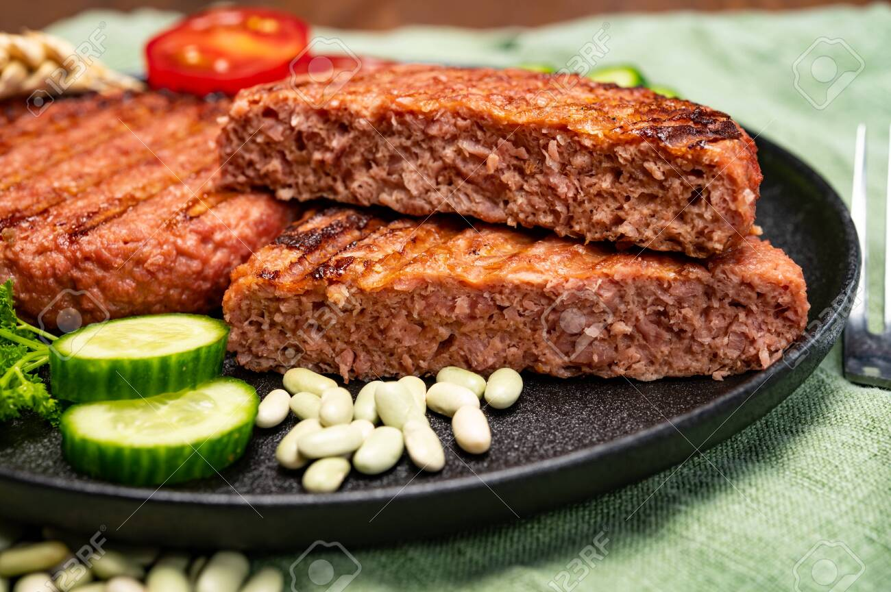 Source of fiber plant based vegan soya protein grilled burgers, meat free healthy food close up - 152000674