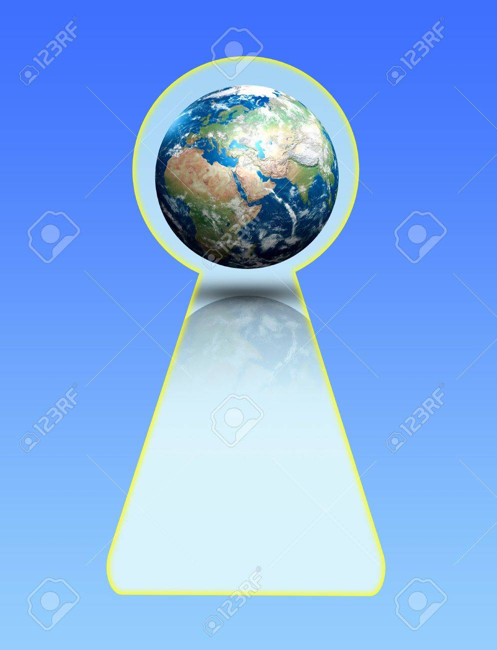 view of the planet earth through the keyhole Stock Photo - 7652599