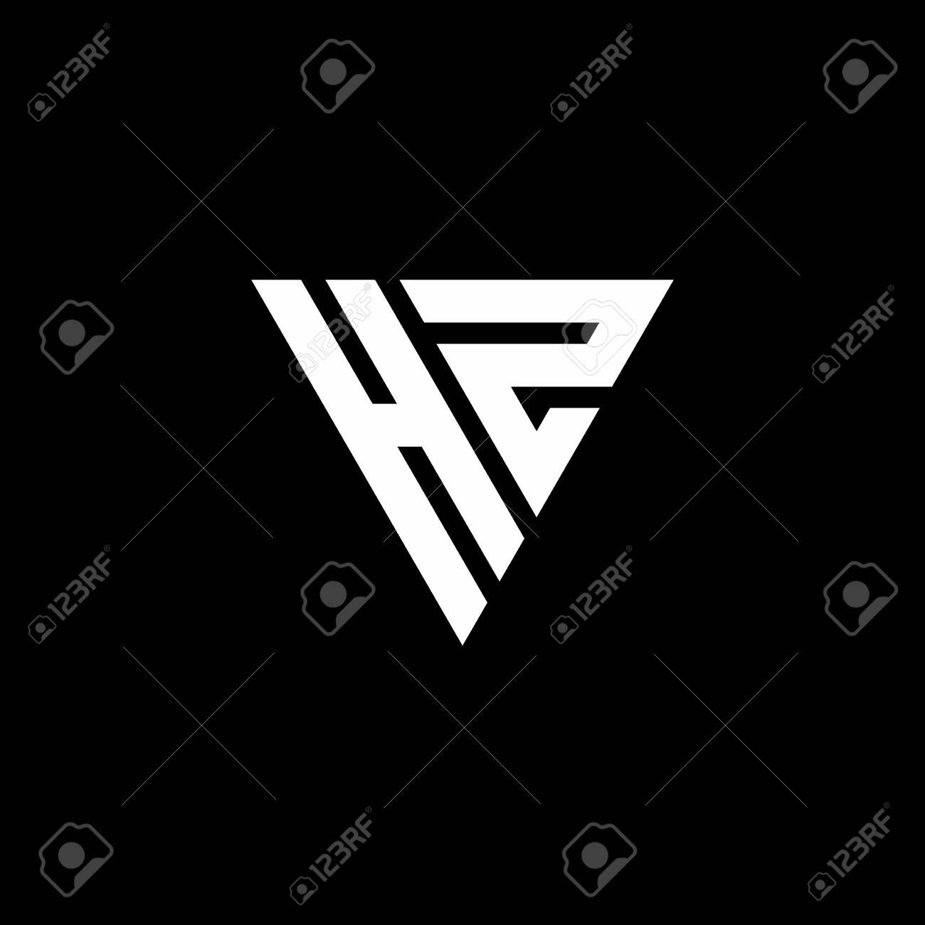 HZ Logo letter monogram with triangle shape design template isolated on black background - 143378283