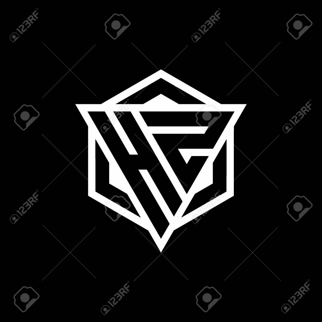 HZ monogram with triangle and hexagon shape combination isolated on black and white colors - 143746860