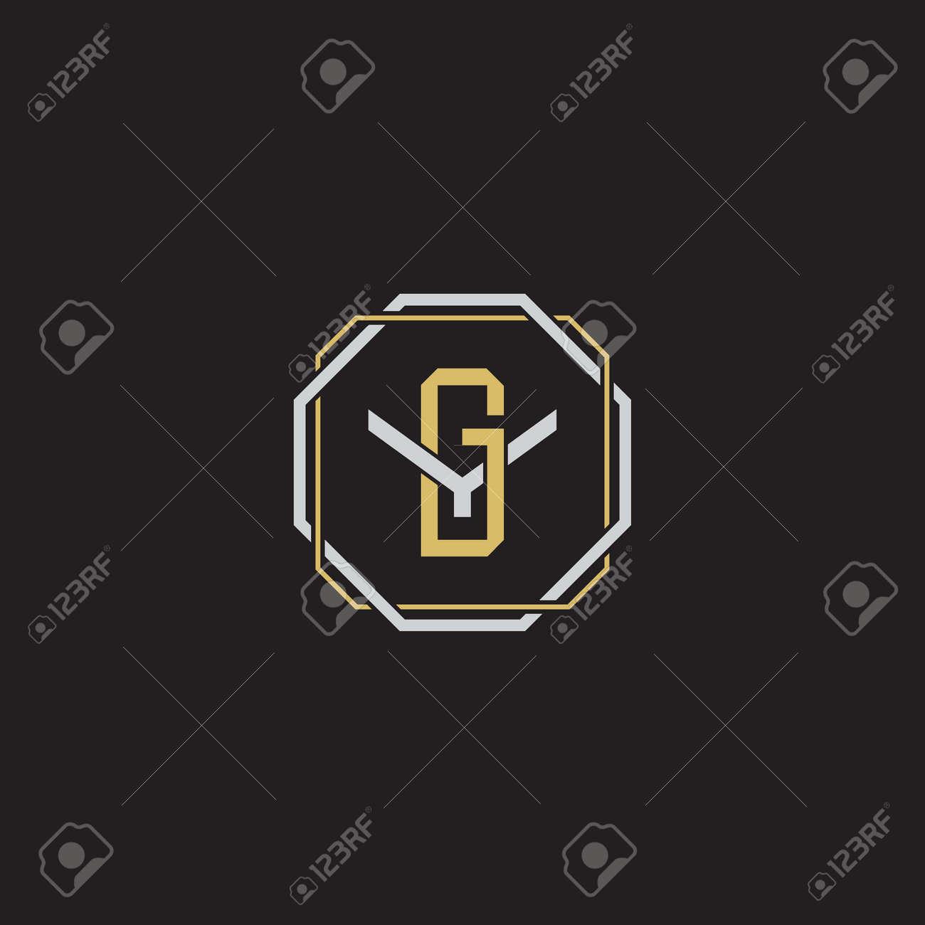 Initial letter overlapping interlock logo monogram line art style isolated on black background template - 169319732