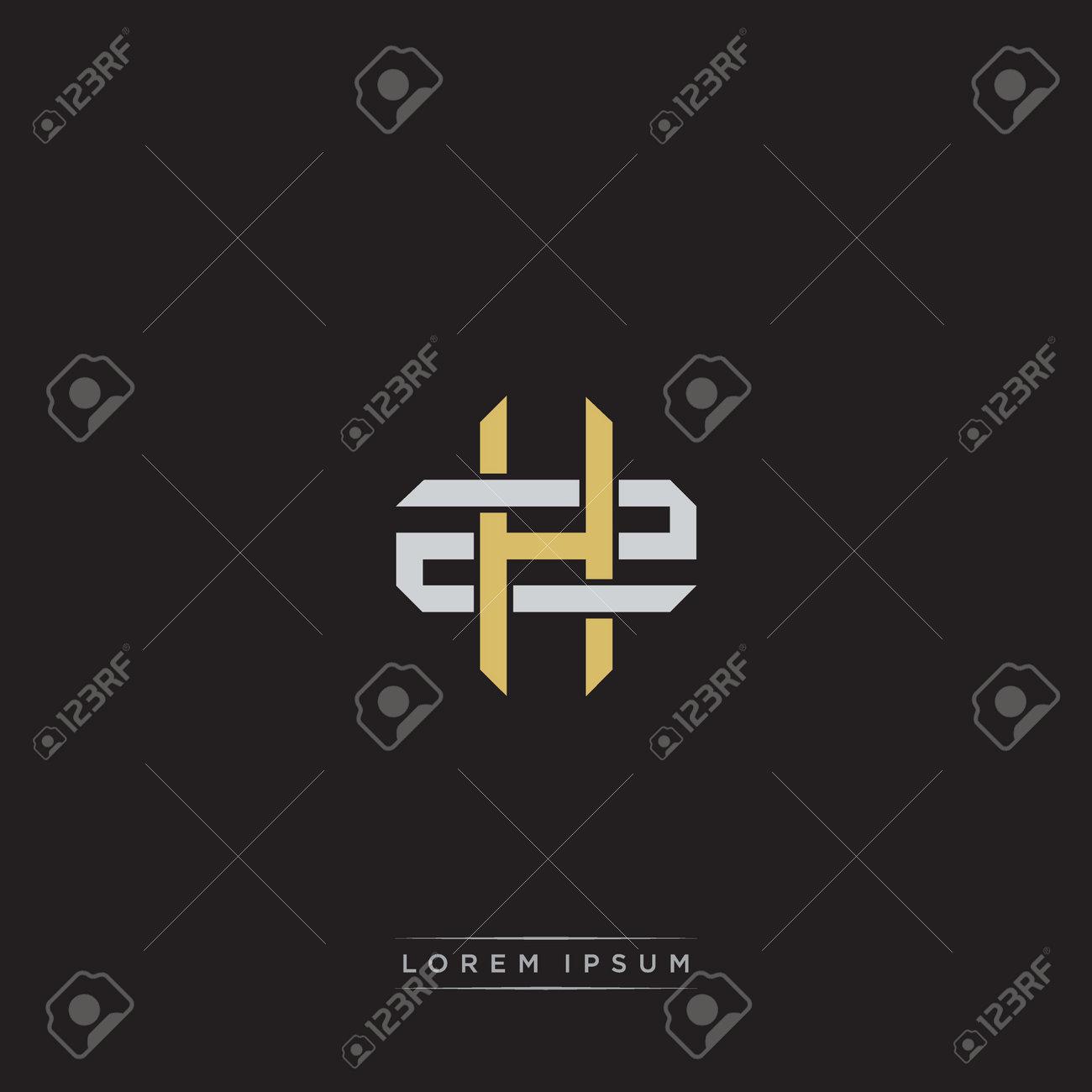 Initial letter overlapping interlock logo monogram line art style isolated on black background template - 169061357