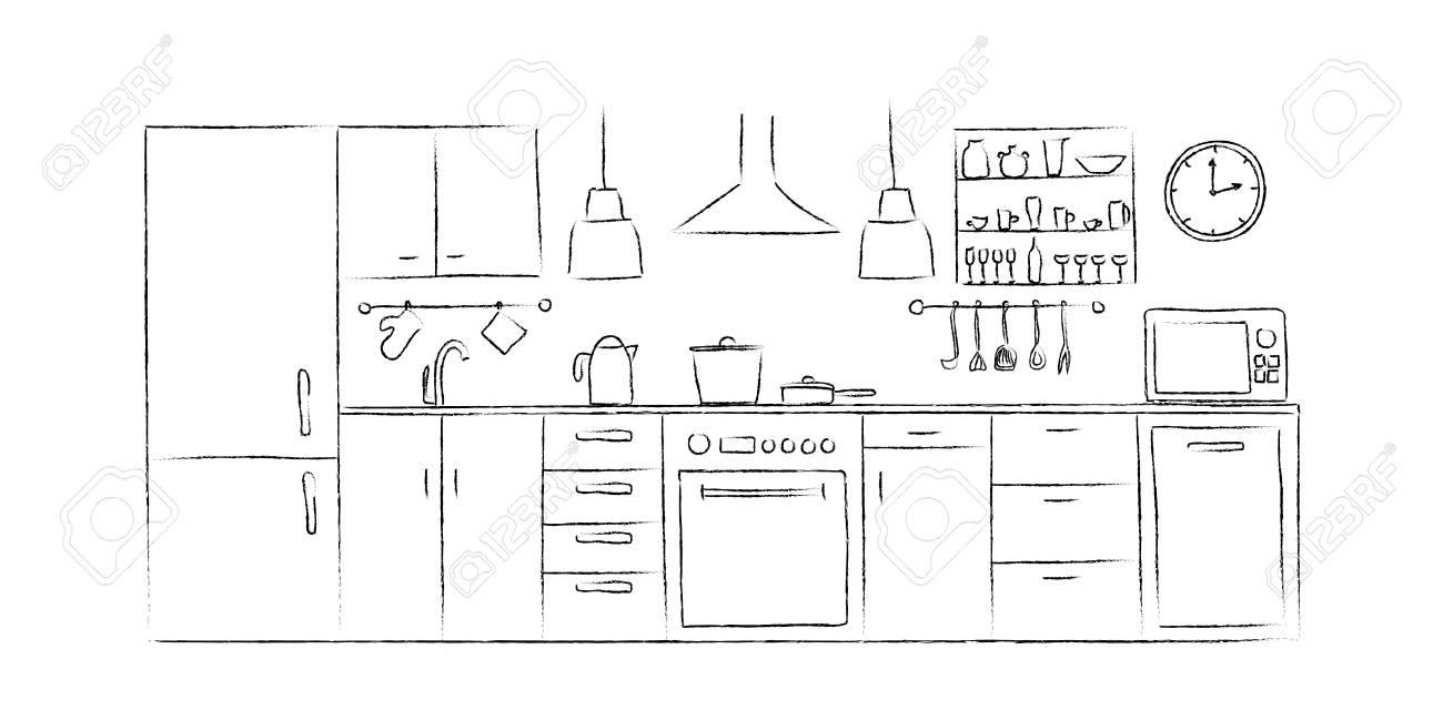 Cuisine Dessin | Croquis Interieurs De Cuisine Main Dessin Vue De Face Clip Art
