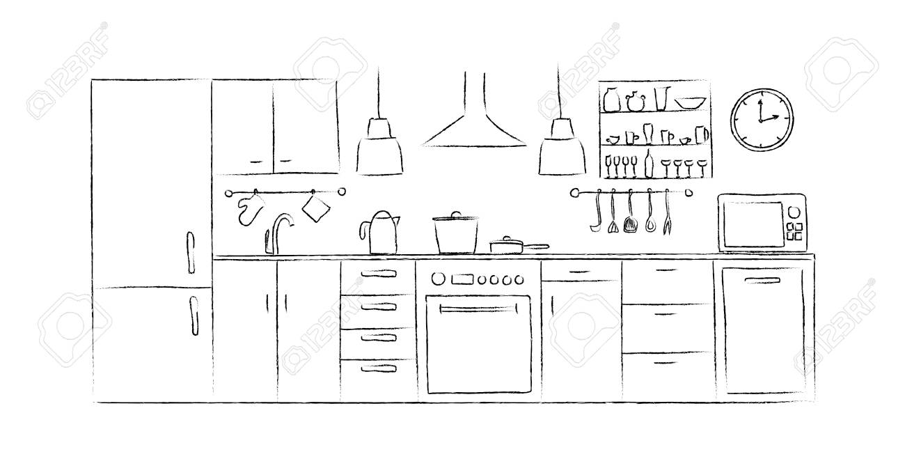 Kitchen Interior Sketches Hand Drawing Front View Royalty Free