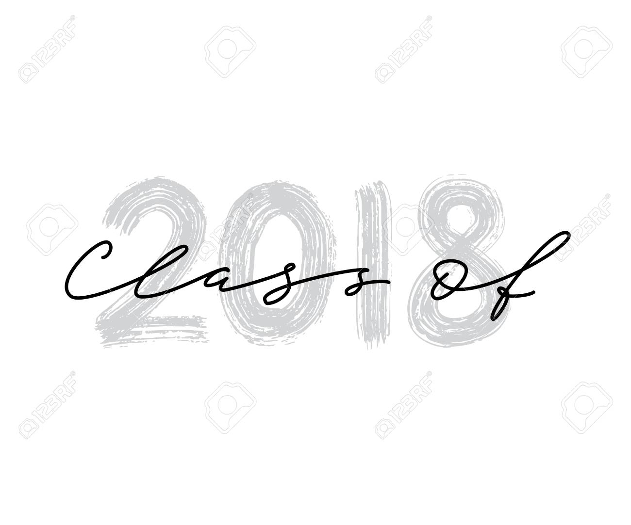 Clase De 2018. Letras De Pincel Dibujado A Mano Logotipo De ...