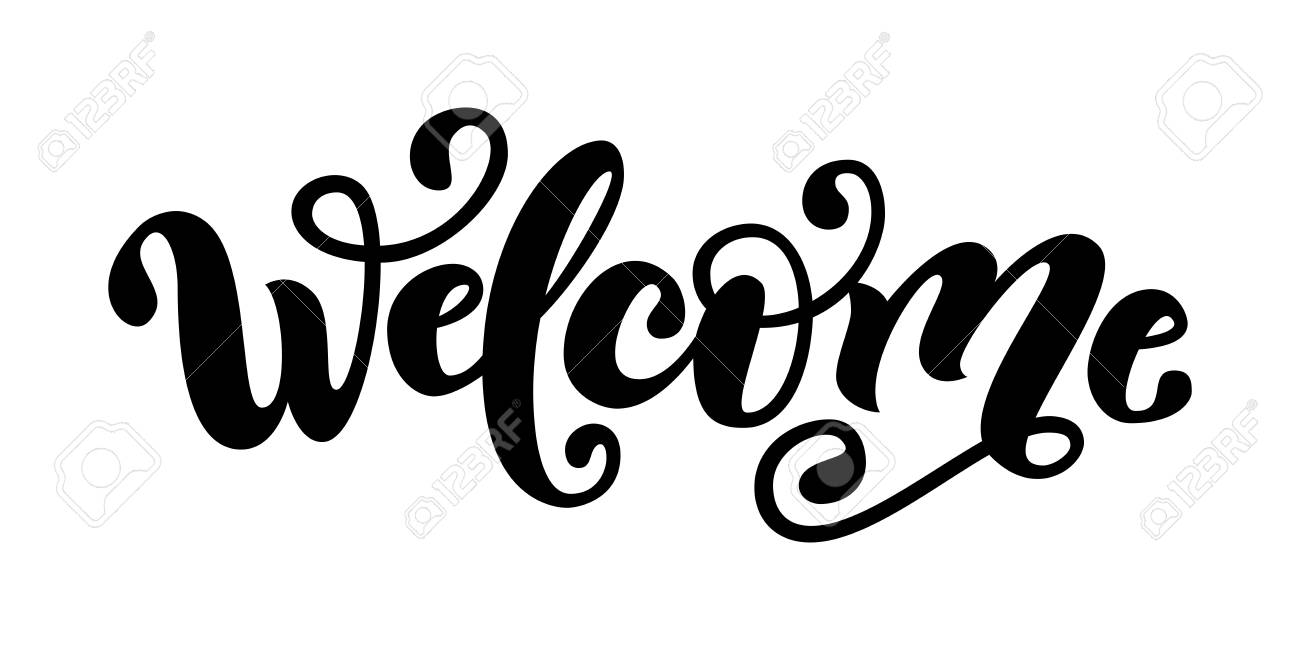 welcome. hand lettering word. handwritten modern brush typography