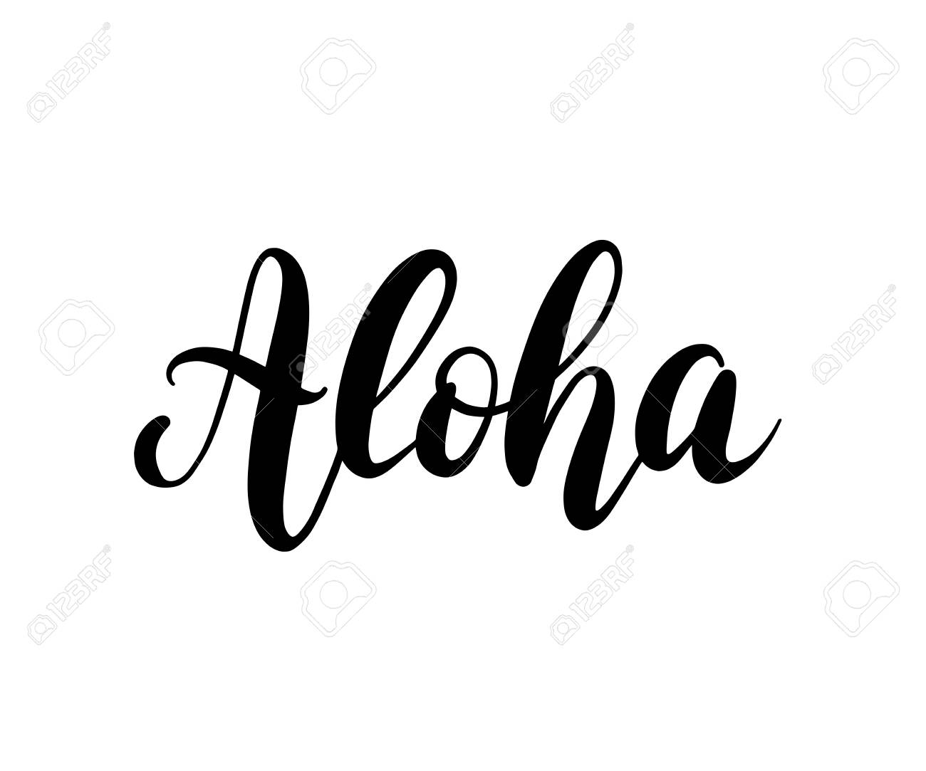 aloha word lettering brush calligraphy vector illustration rh 123rf com aloha clipart black and white aloha clipart free