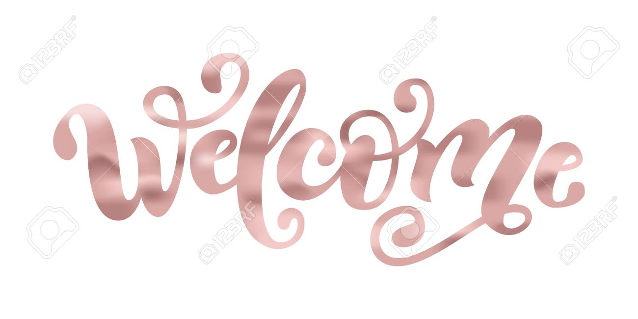 Welcome  Hand Lettering word  Handwritten modern brush typography