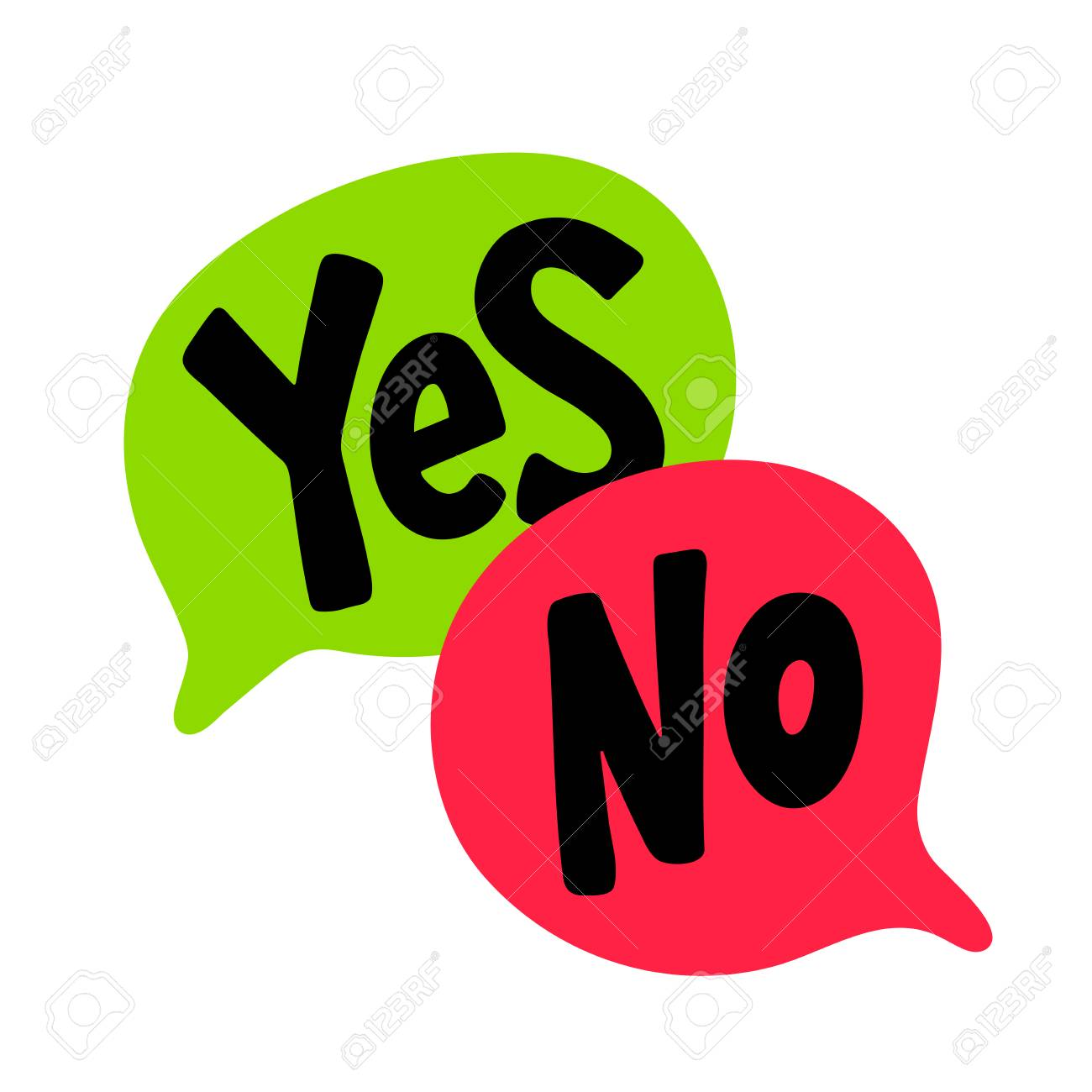 Yes No Word Text On Talk Shape Black Green And Red Color Vector