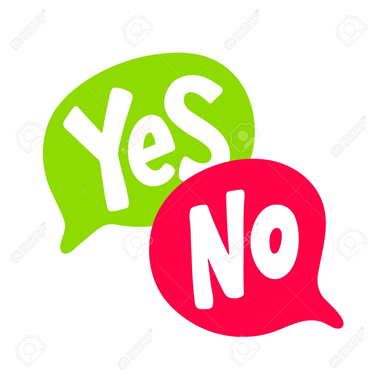 Yes No word text on talk shape. Green and red color. Vector illustration speech bubble on white background. Design element for badge, sticker, mark, symbol, icon and card chat. Test question - 107716787