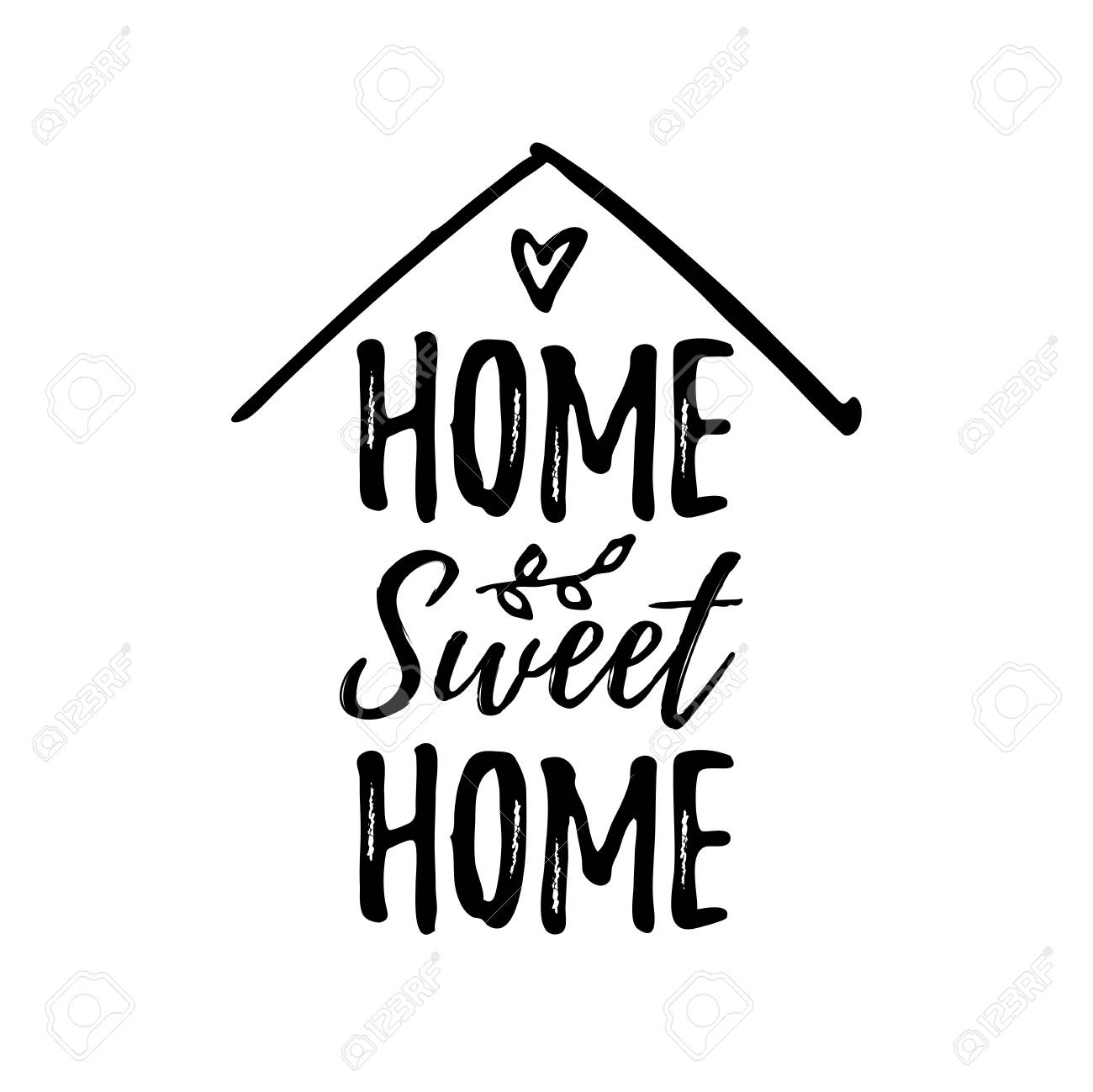 Home sweet home. Typography cozy design for print to poster, t shirt, banner, card, textile. Calligraphic quote Vector illustration. Black text on white background. House shape - 110266417