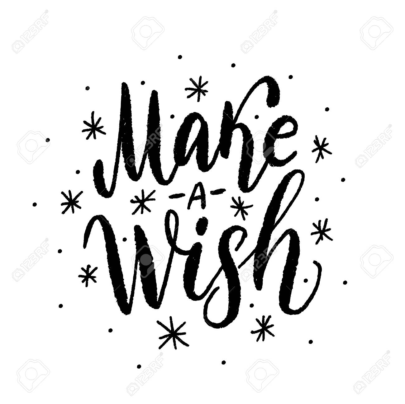 Make A Wish Text Vector Illustartion Design For Print Christmas Or Birthday Greeting Cards