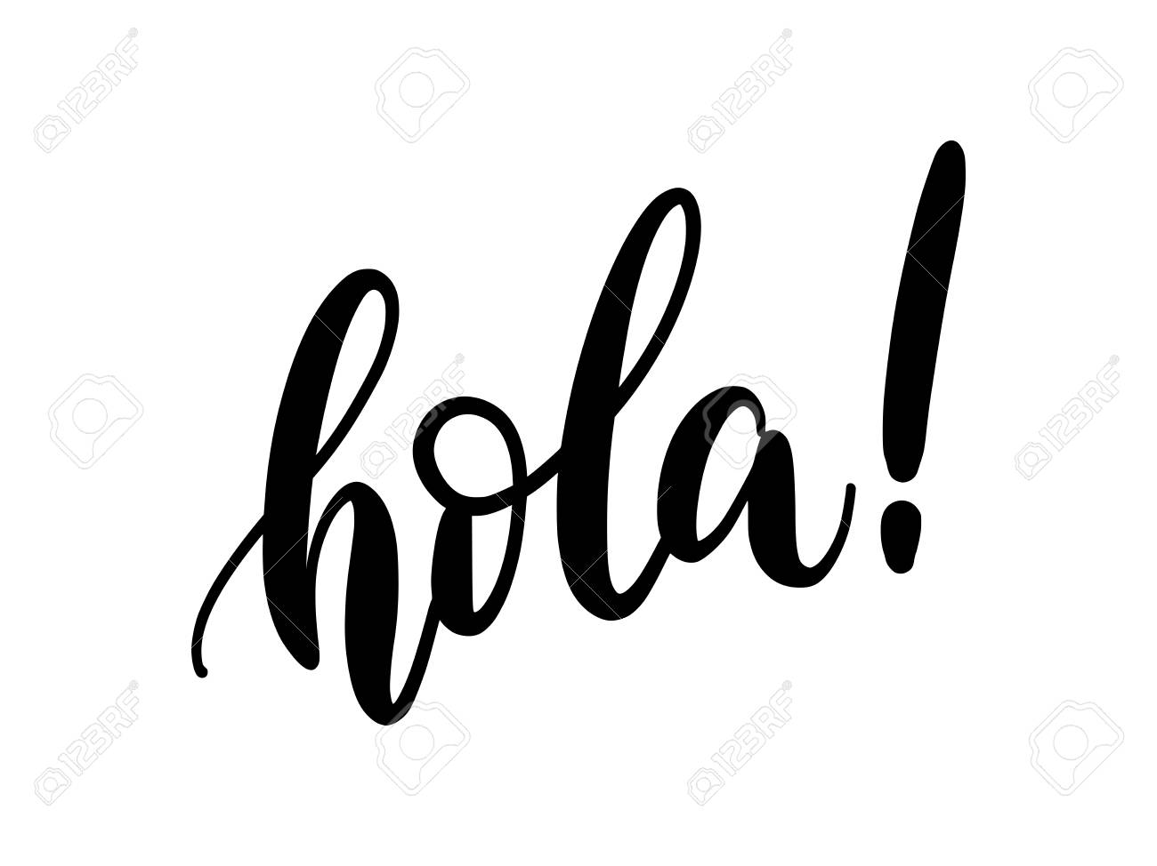 Hola word lettering. Hand drawn brush calligraphy. Vector illustration for print on shirt, card, poster etc. Black and white. Spanish text hello phrase. - 108439799