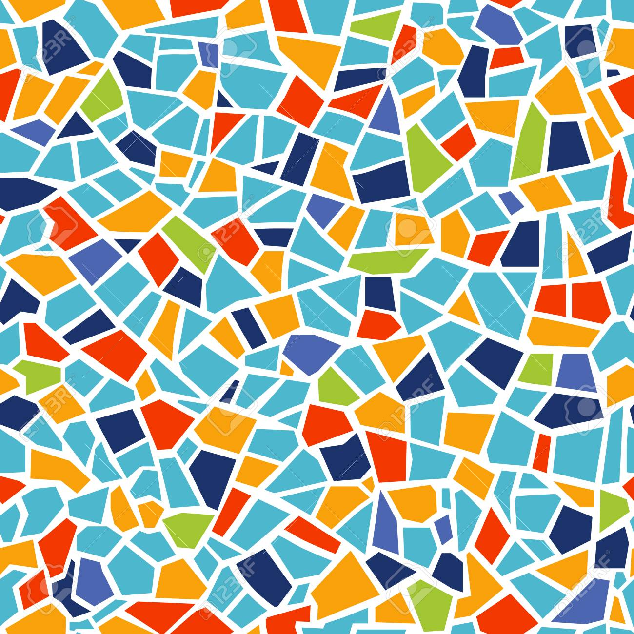 Bright abstract mosaic seamless pattern. Vector background. For design and decorate backdrop. Endless texture. Ceramic tile fragments. Colorful broken tiles trencadis. Yellow blue red colors art - 109808517