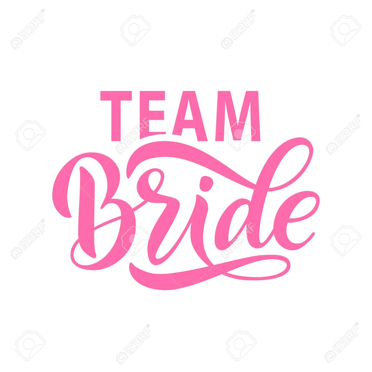 bride team word calligraphy fun design to print on tee shirt hoody poster