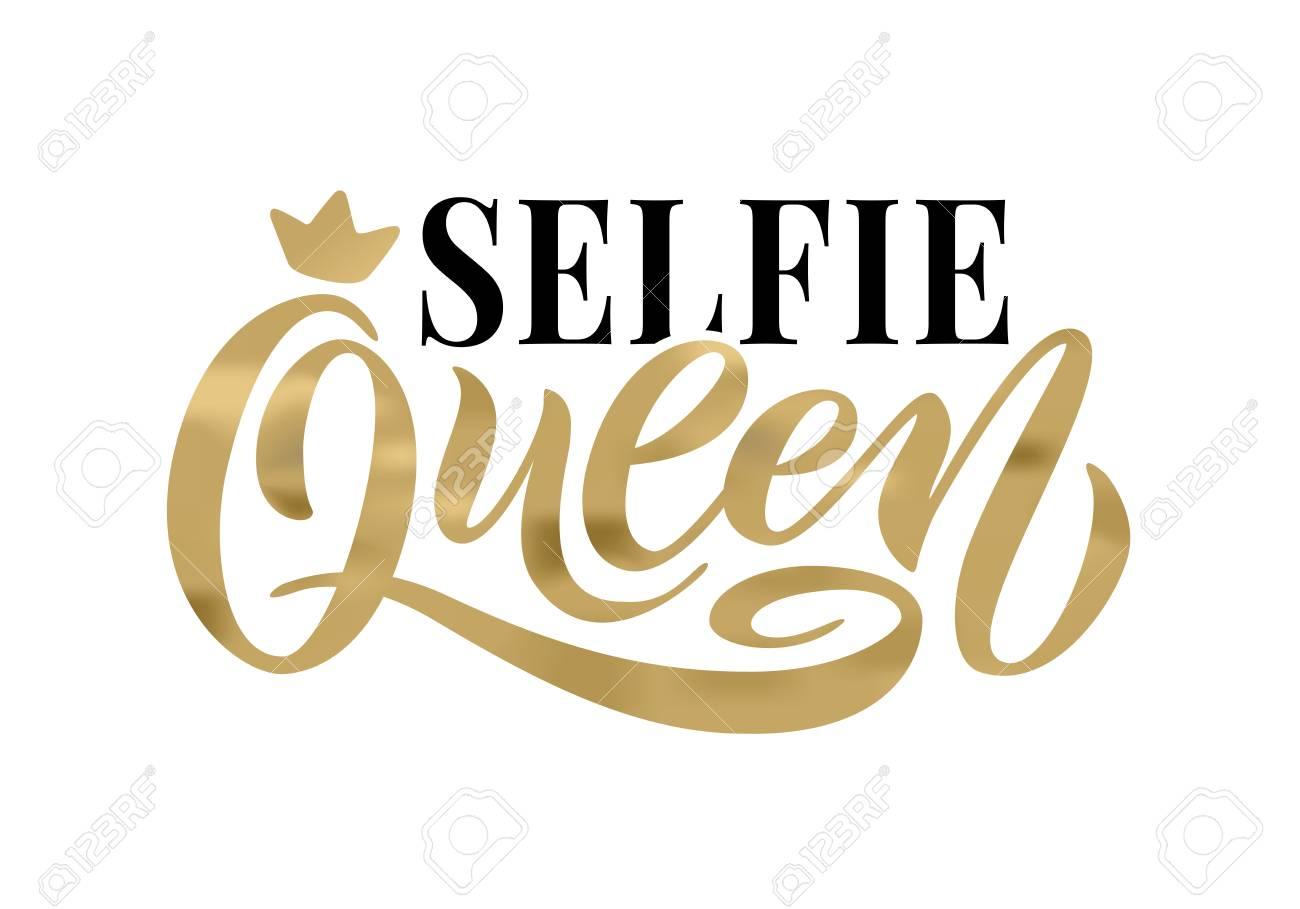 selfie queen word crown calligraphy fun design to print