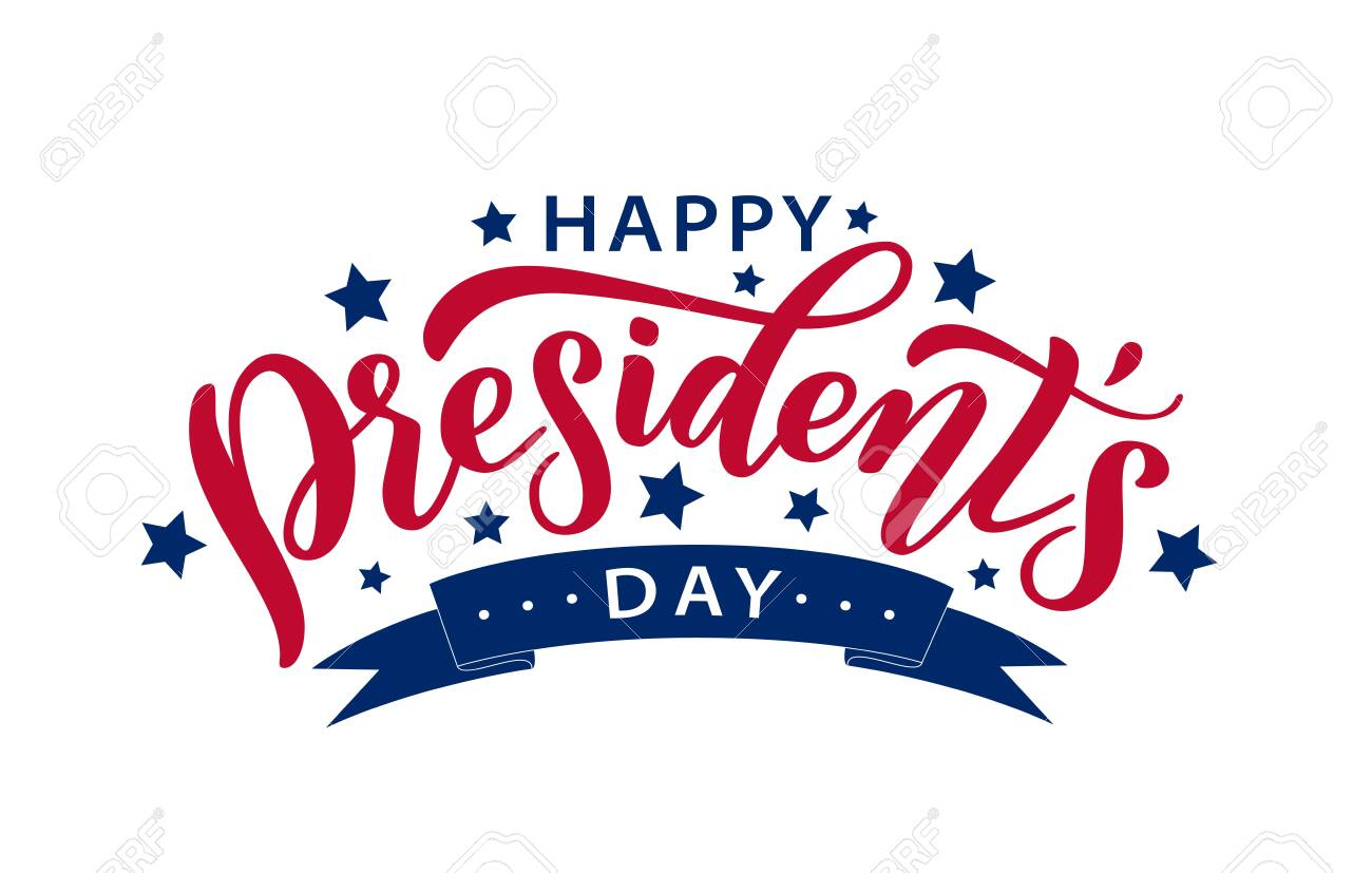 Happy Presidents Day With Stars And Ribbon Vector Illustration Hand Drawn Text Lettering For Presidents Day In Usa Script Calligraphic Design For Print Greetings Card Sale Banner Poster Colorful Royalty Free Cliparts