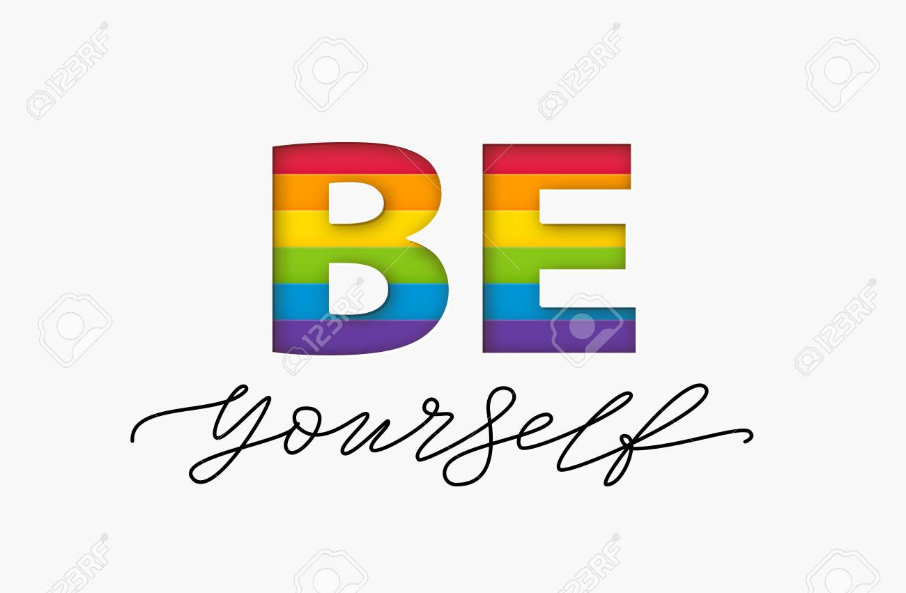 Be yourself quote. LGBT rainbow pride flag. Paper cut word. Lesbian and and queer love yourself. Text design print for t shirt, poster, card, banner Vector illustration - 121988391
