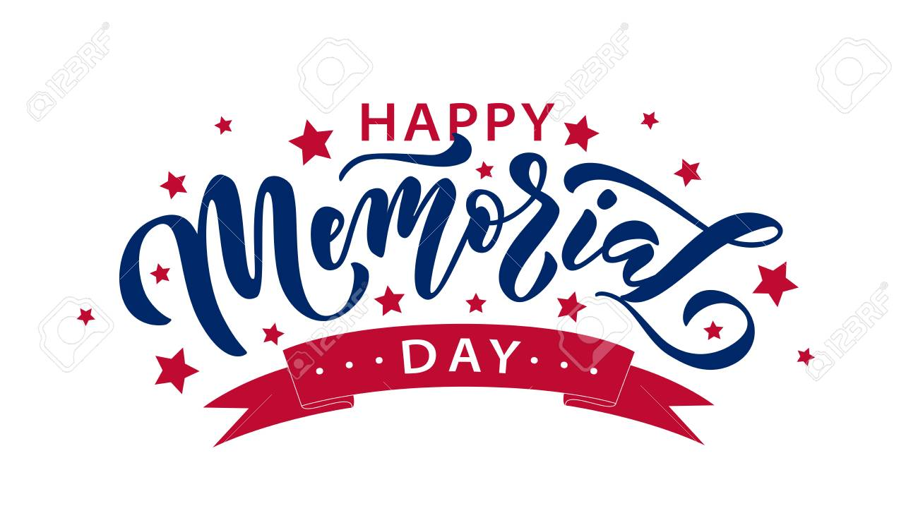 Memorial Day. Remember and honor. Vector illustration Hand drawn text lettering with stars for Memorial Day in USA. Script. Calligraphic design for print greetings card, sale banner, poster. Colorful - 121988398