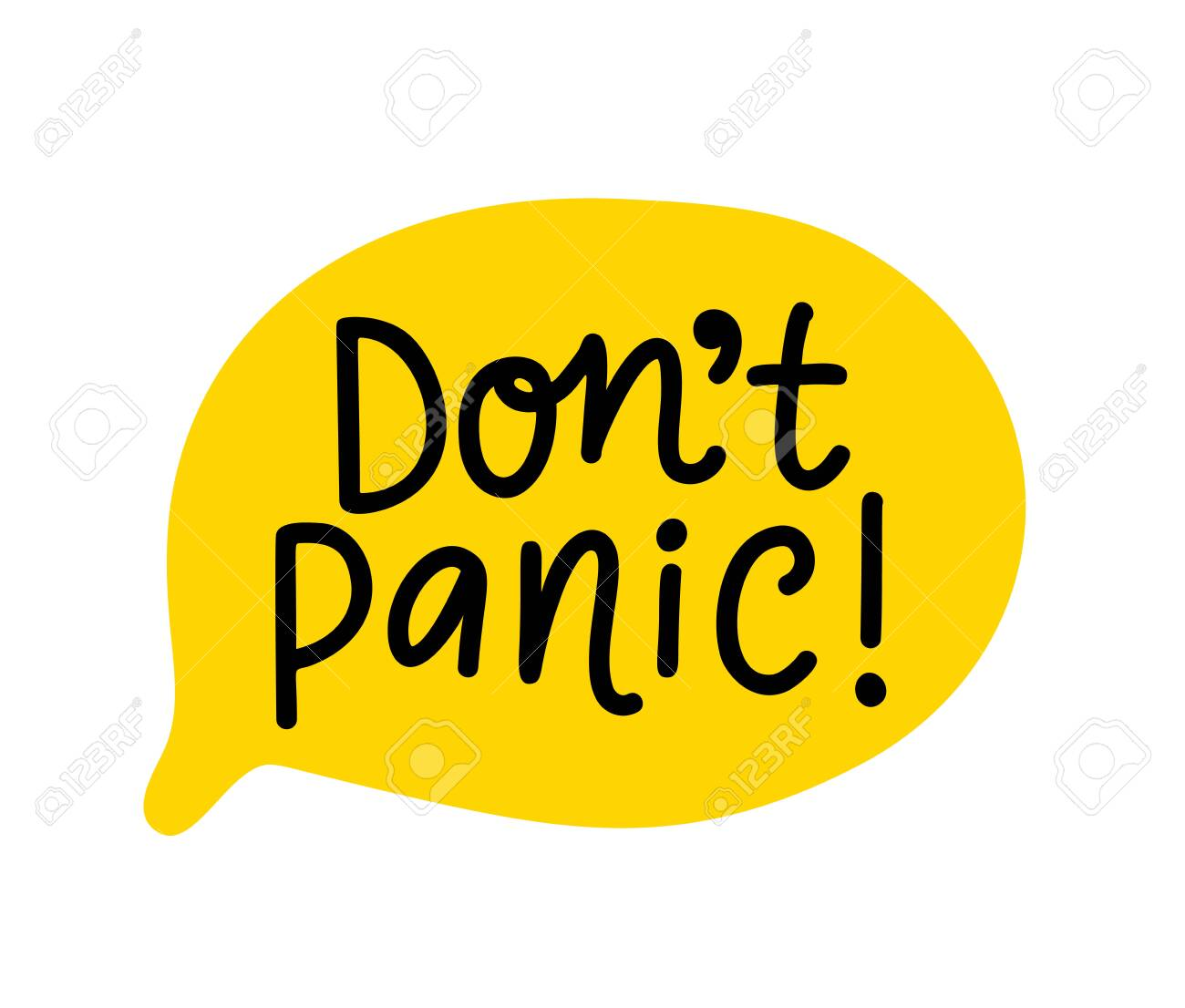 Do not panic text. Speach bubble with words. Dont panic. Printable graphic tee. Design doodle for print. Vector illustration. Colorful. Cartoon hand drawn style - 143415869