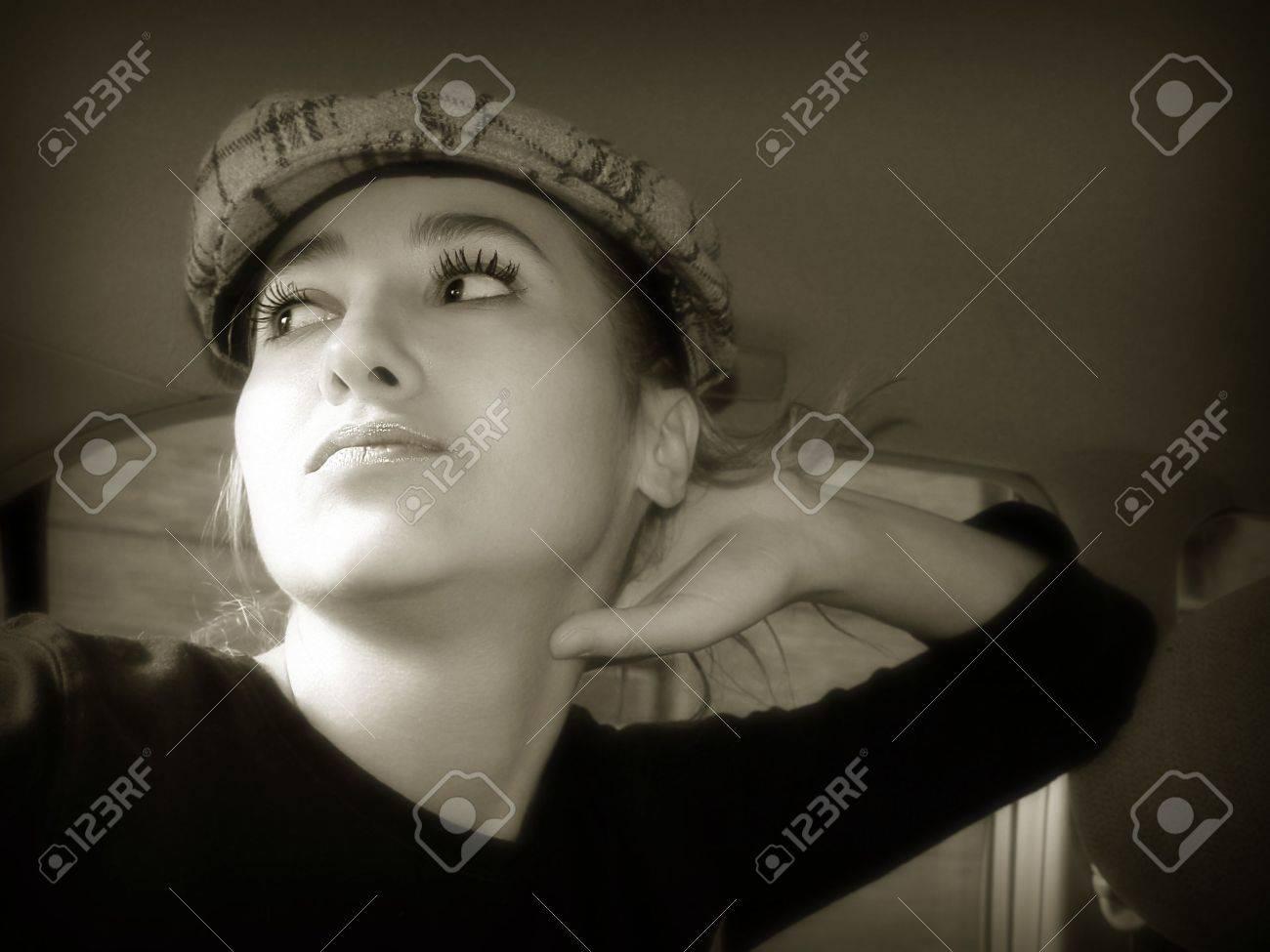 Sepia girl in a car Stock Photo - 347543