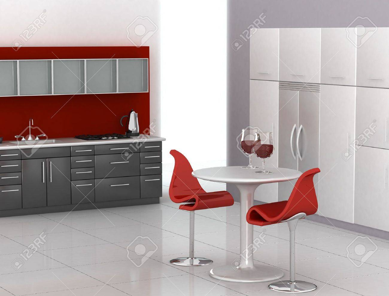 Modern Kitchen In Red Black And White Stock Photo Picture Royalty Free Image 903737