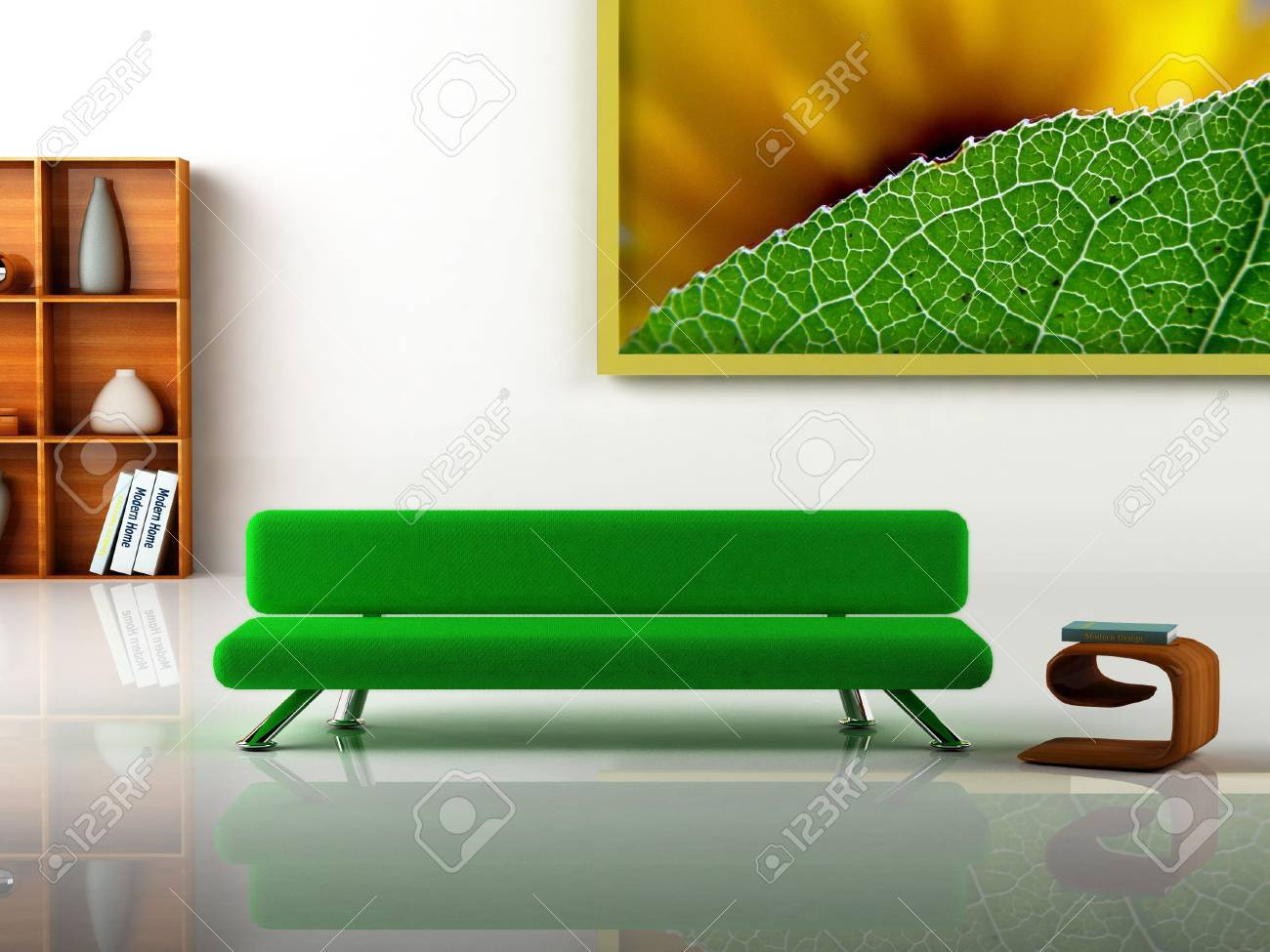 3D rendering of a modern interior. Picture on the wall is my own photograph. Stock Photo - 916829