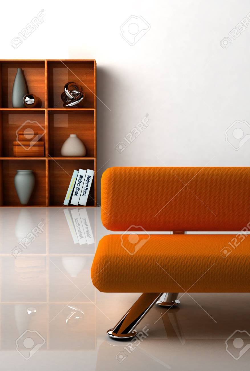 3D rendering of a modern interiorwith the orange couch. Stock Photo - 916831