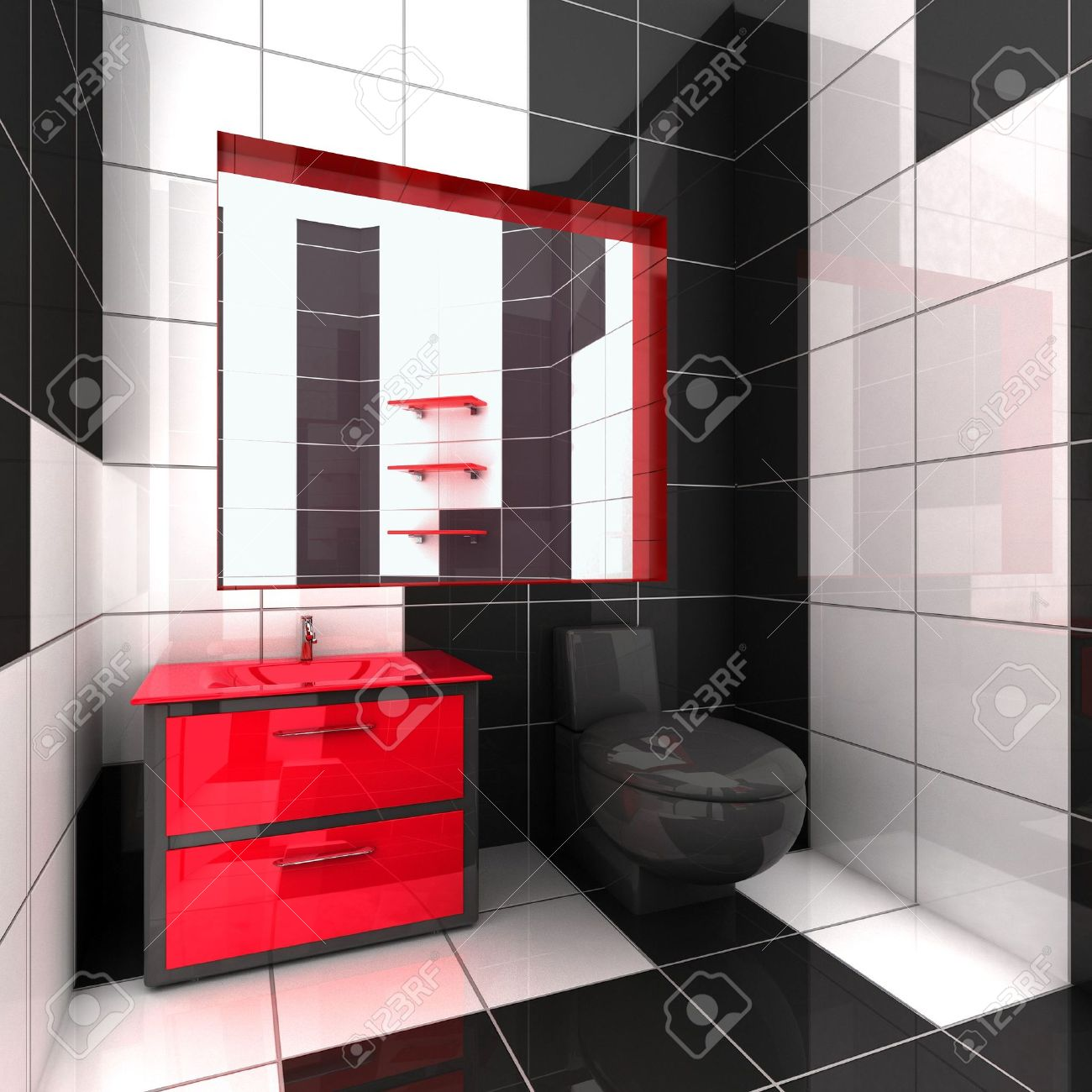 Marvelous 3D Rendering Of A Modern Bathroom In Black, White And Red Stock Photo    959229