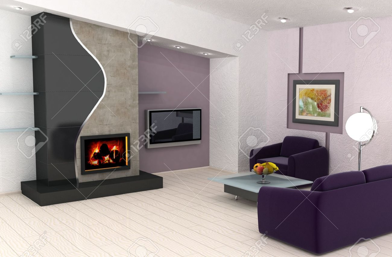 Het beeld op de muur is mijn eigen beeld. moderne woonkamer met ...
