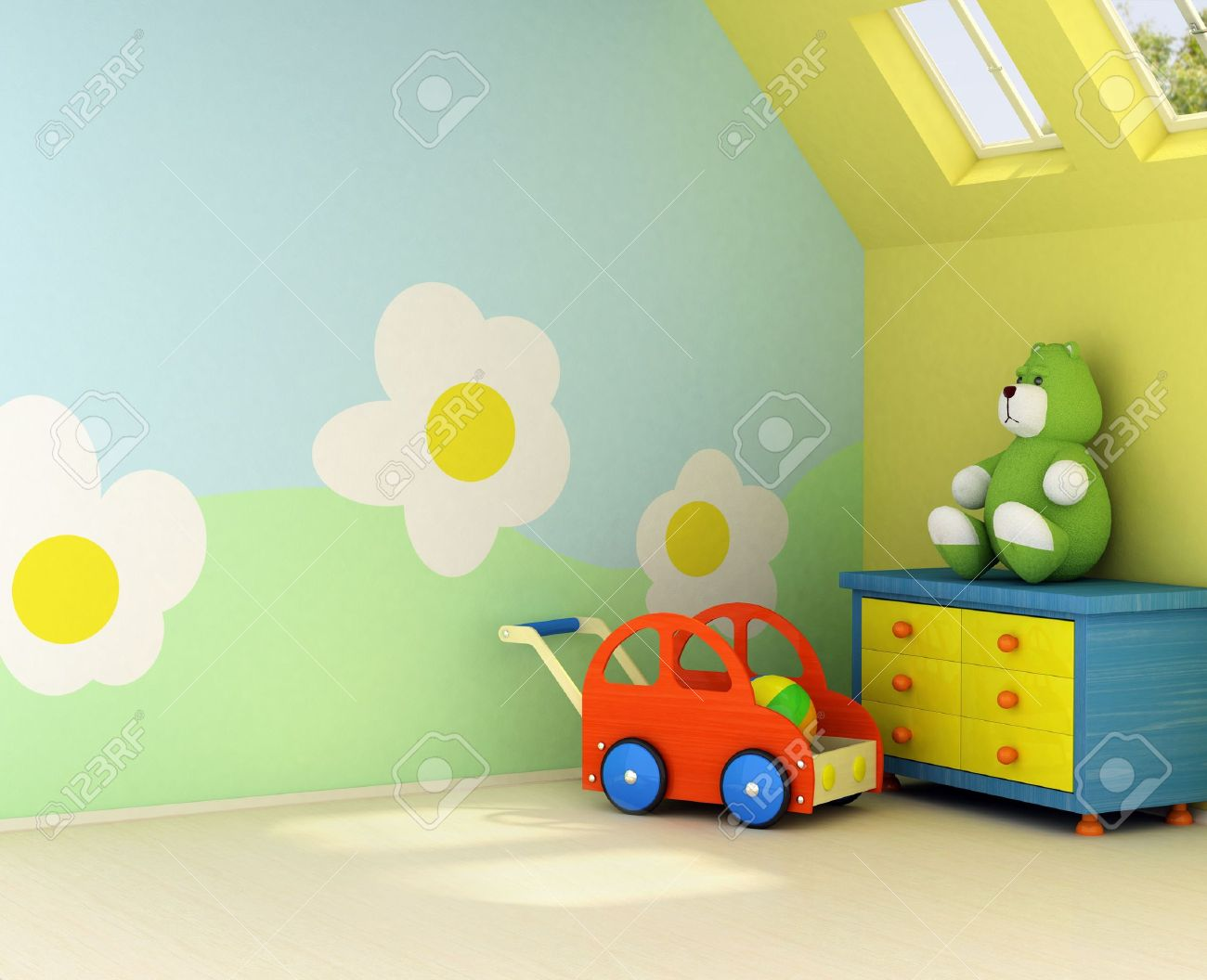 Design on the wall is my own image.Freshly painted room for a  with the flower design on the wall Stock Photo - 1142890