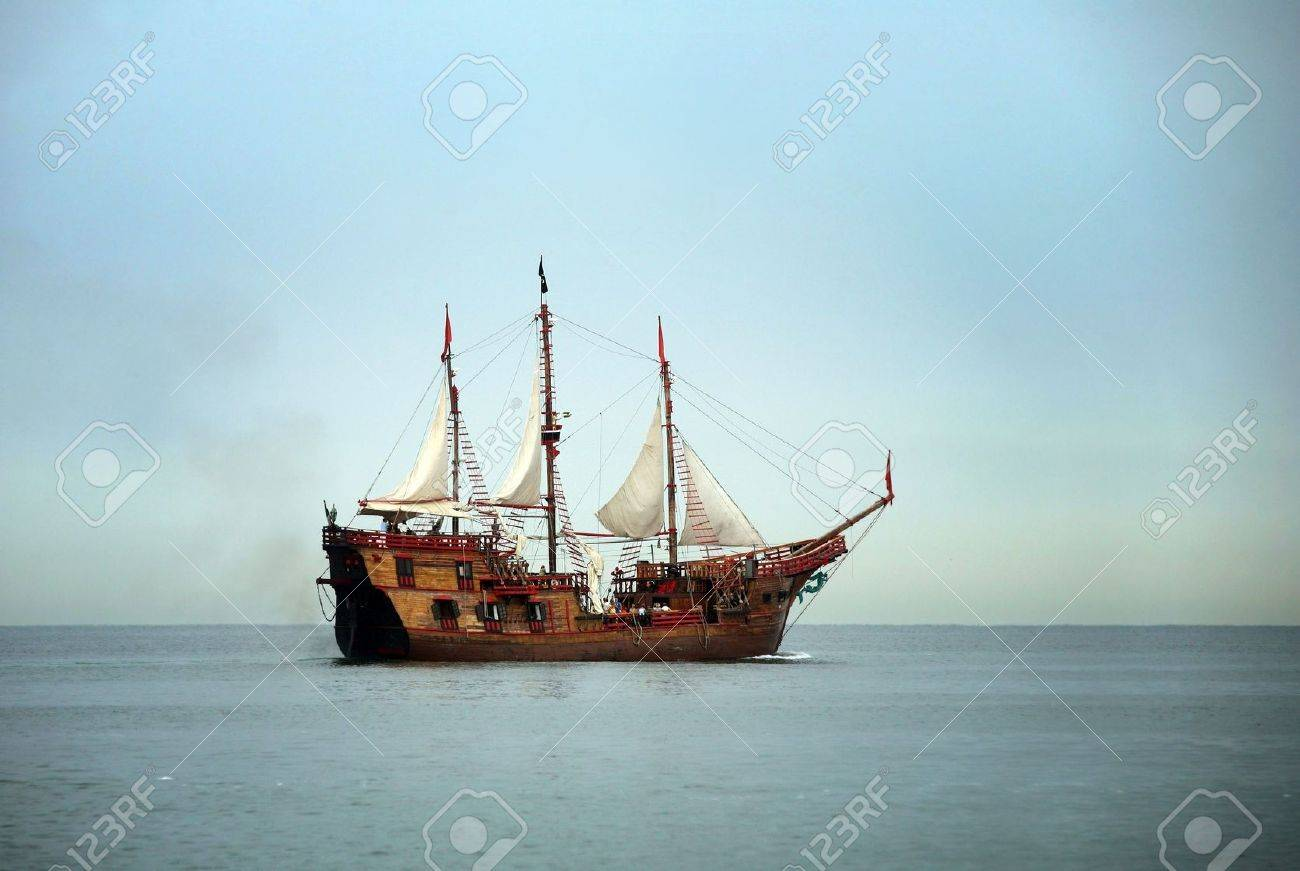 old sailing ship in the ocean stock photo picture and royalty