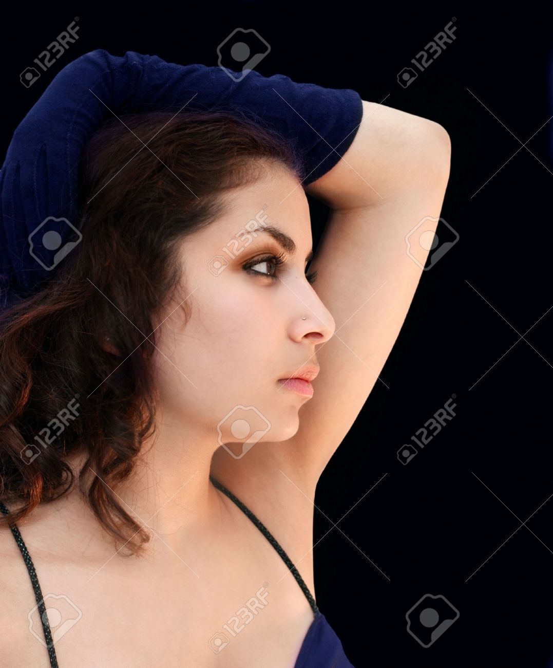 A Beautiful Arab Girl In Blue Gloves Stock Photo 4595405