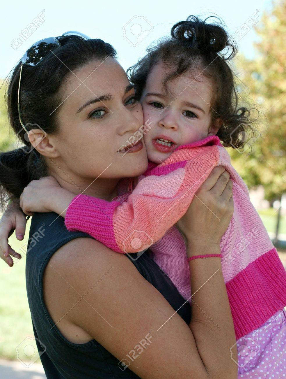 An outdoor portrait of a mother and her crying daughter Stock Photo - 4611052