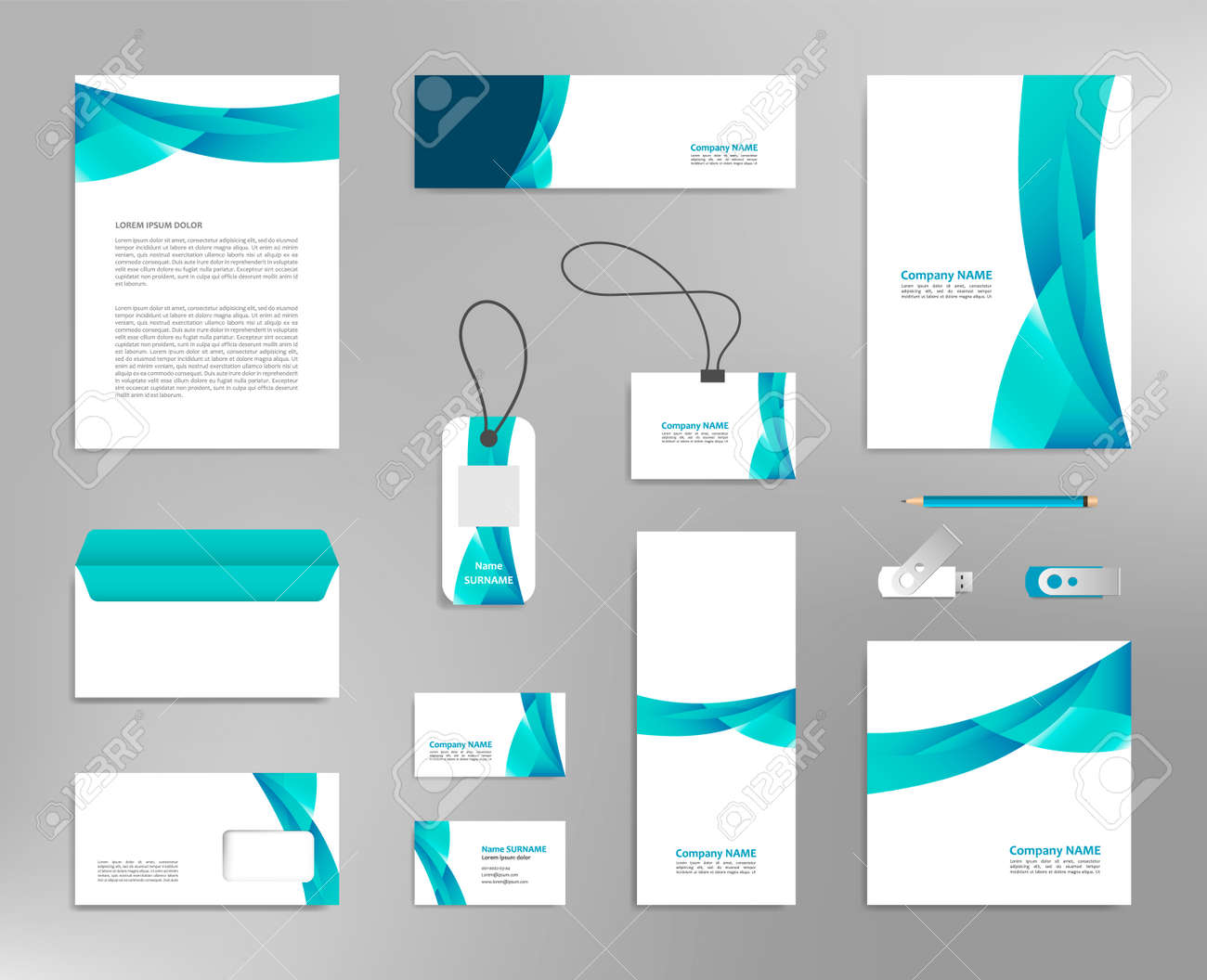 Corporate identity design template, business stationery mockup for company branding - 151290886