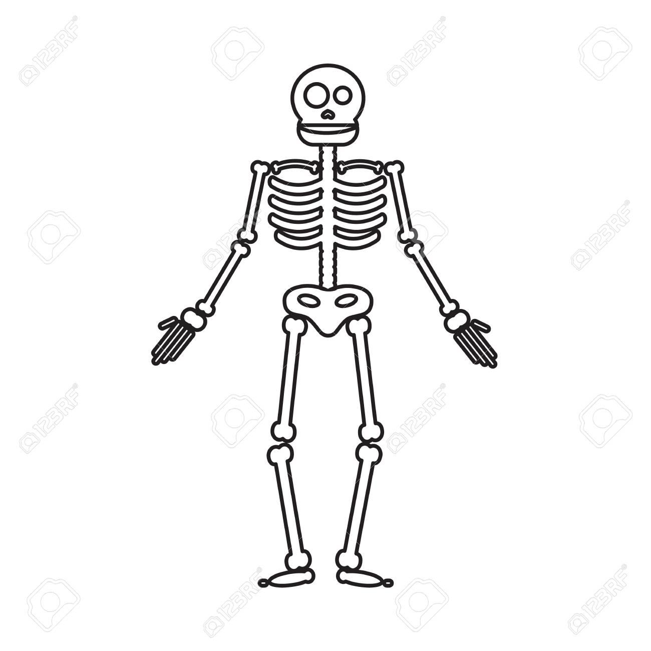 Halloween Skeleton.Happy Halloween Skeleton Illustration Zombie From Bones And