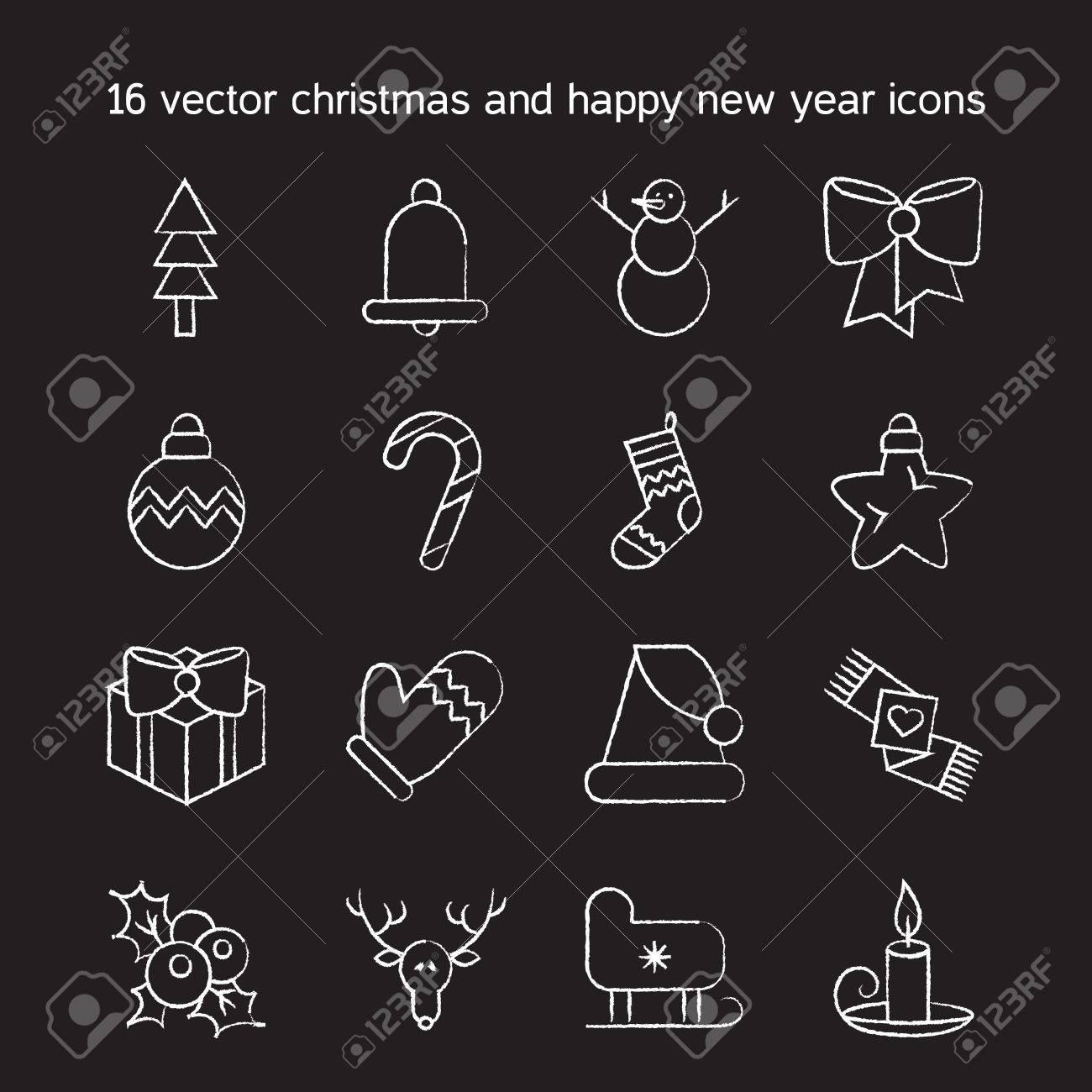 Merry Christmas Icons Set Happy New Year Symbols Winter Holiday