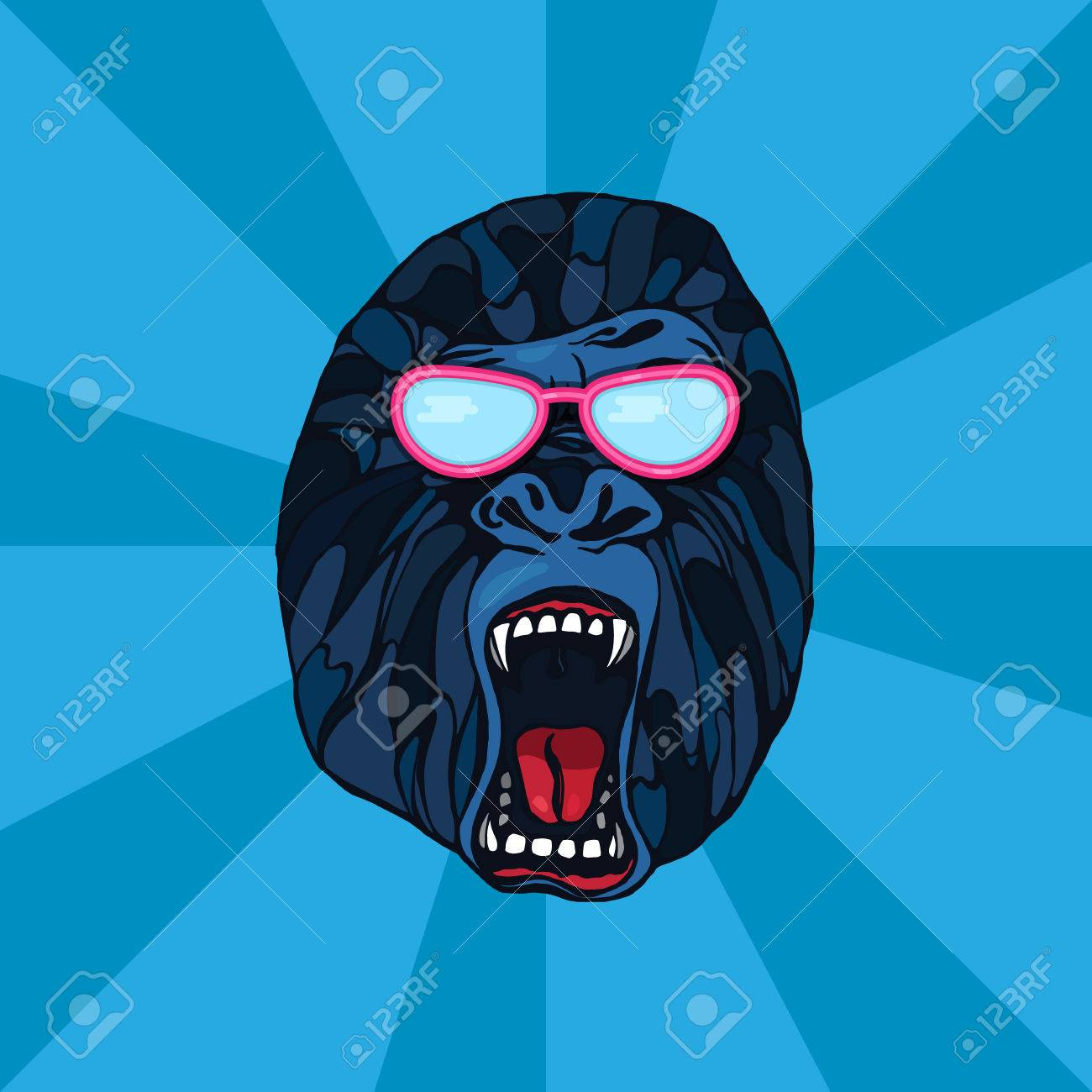 Foto de archivo - Gruñendo gorila detallan en estilo de dibujos animados  con gafas. Diseño de la camiseta b97d6f0a16252