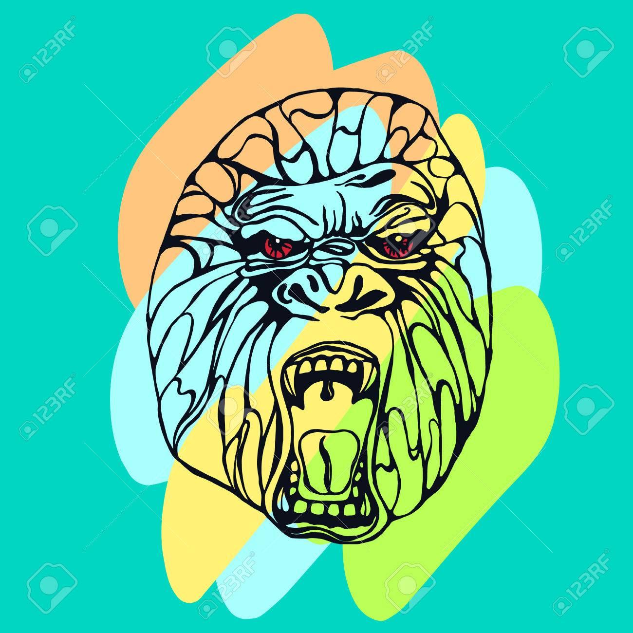 Foto de archivo - Gruñendo gorila detallado con manchas de color. Diseño de  la camiseta 746695d6c7756