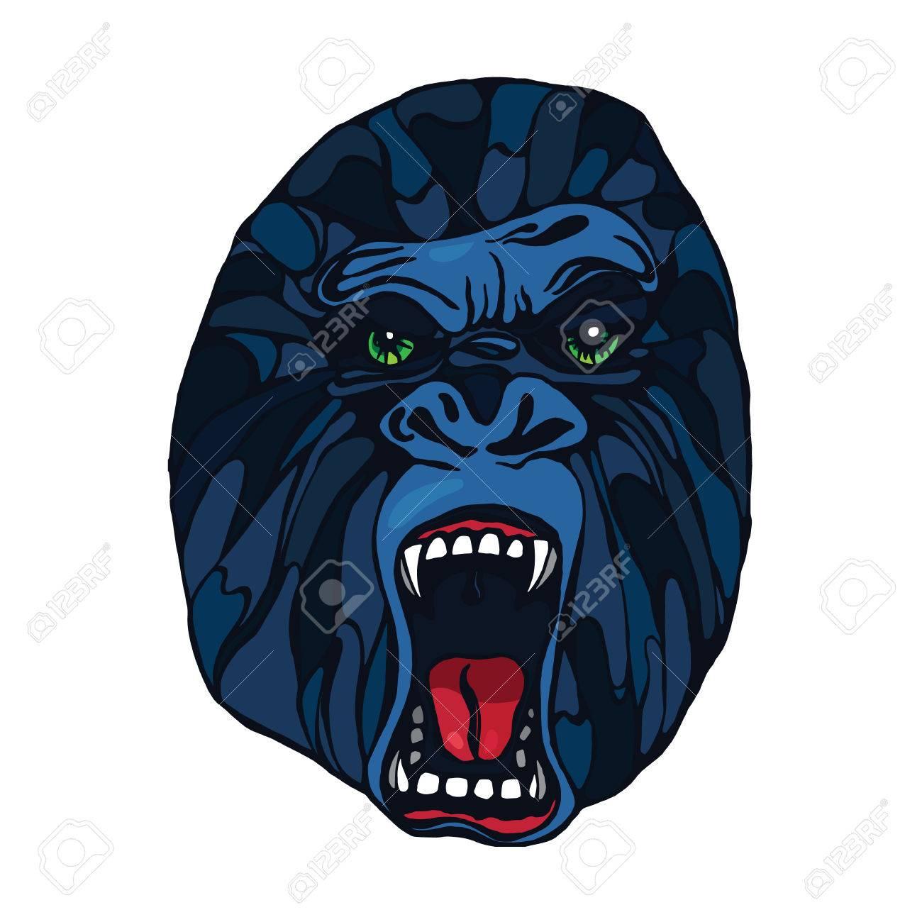 Foto de archivo - Gruñendo gorila detallada en el estilo de dibujos  animados. Diseño de la camiseta 01638cfb89283