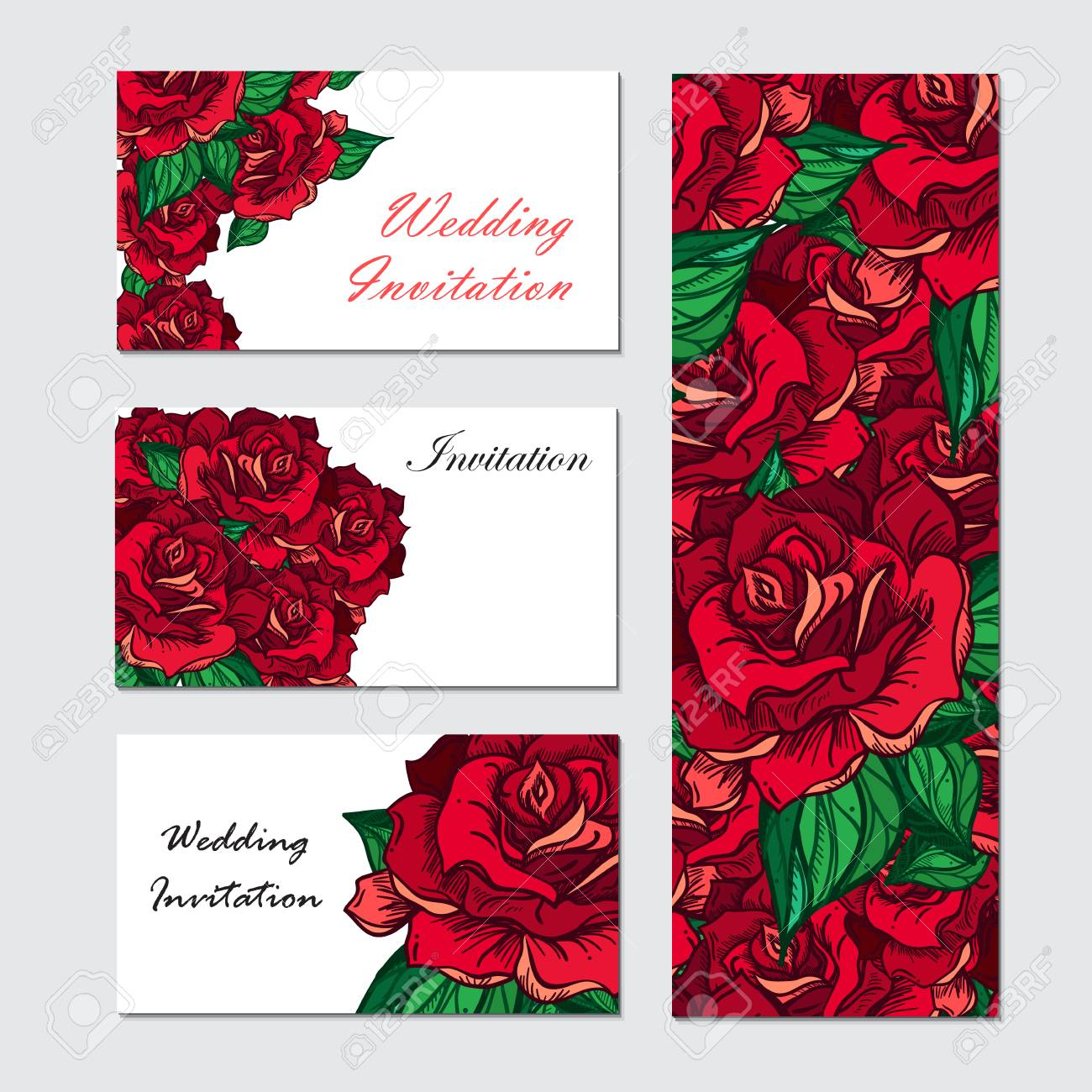 Hand Drawn Wedding Rose Invitation. Flower Template For Wedding ...