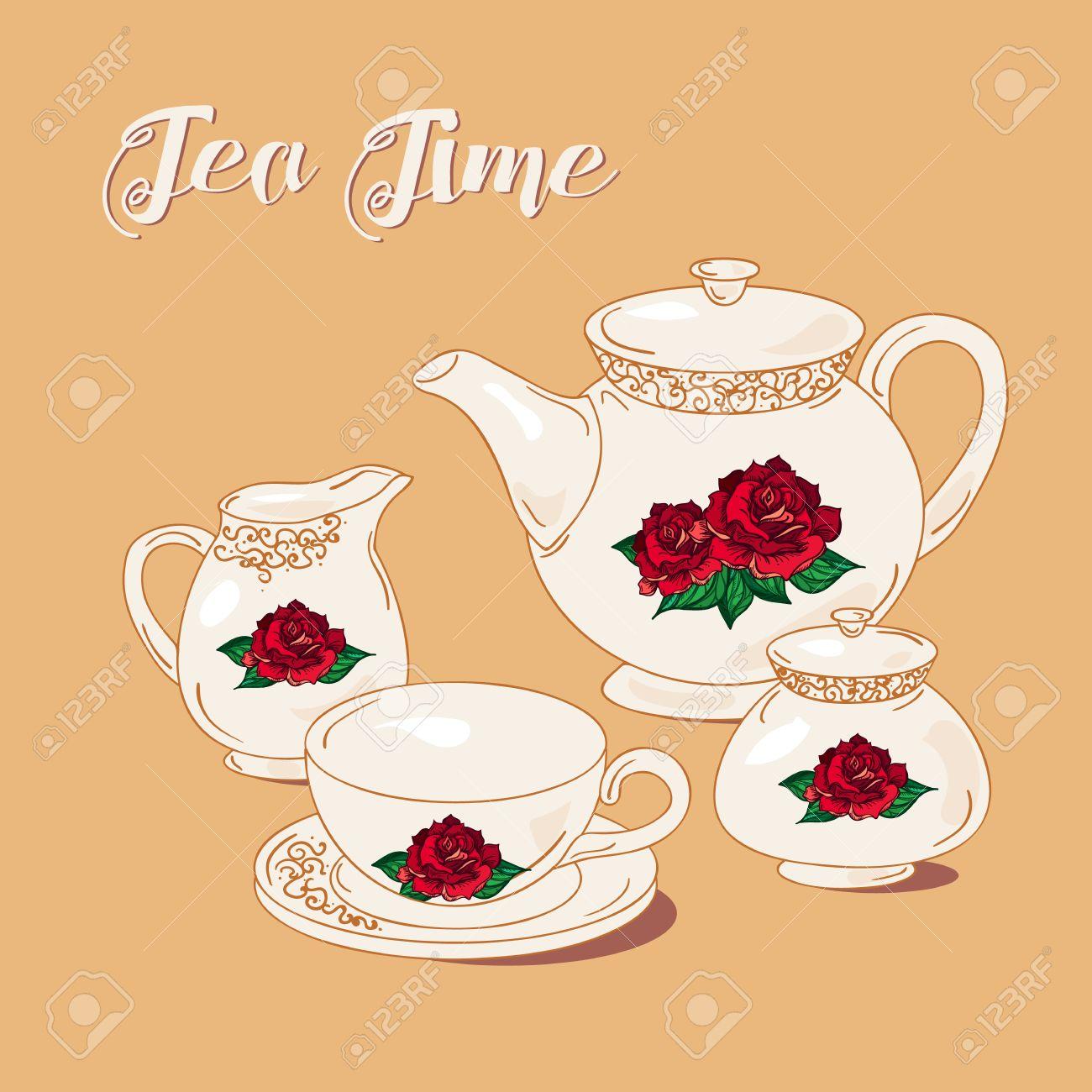 Tea Time Et Tea Set Dans Le Style Vintage. Thé Anglais Traditionnel ...