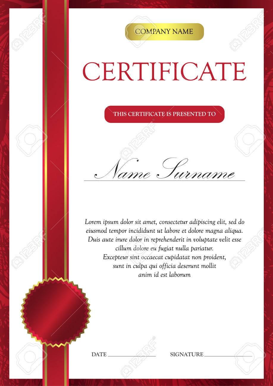 Certificado Roja Vertical Y Plantilla De Diploma Con Vintage, Floral ...