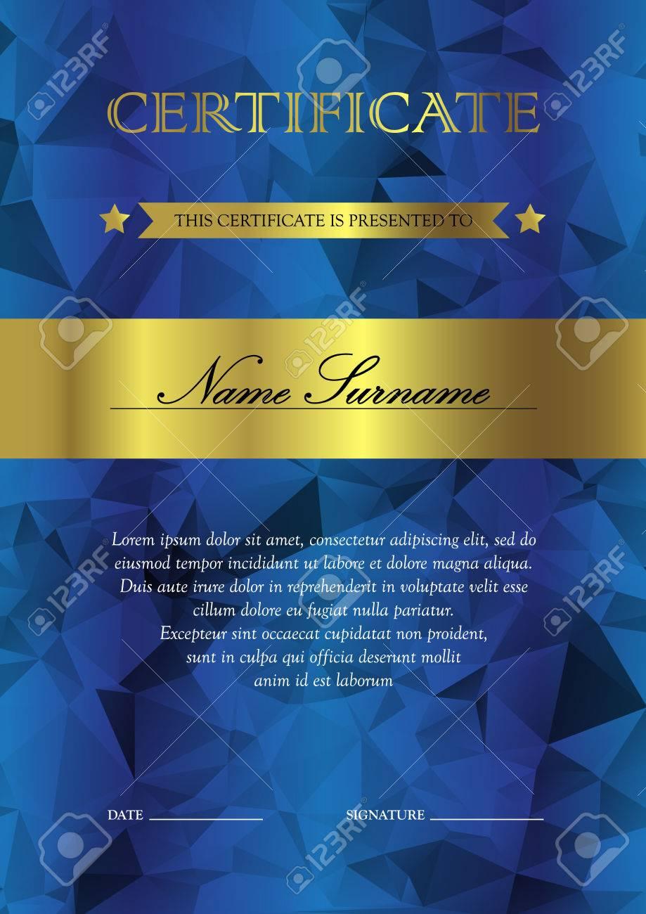 Azul Y Oro Vertical Plantilla De Certificado Y Diploma Con La ...