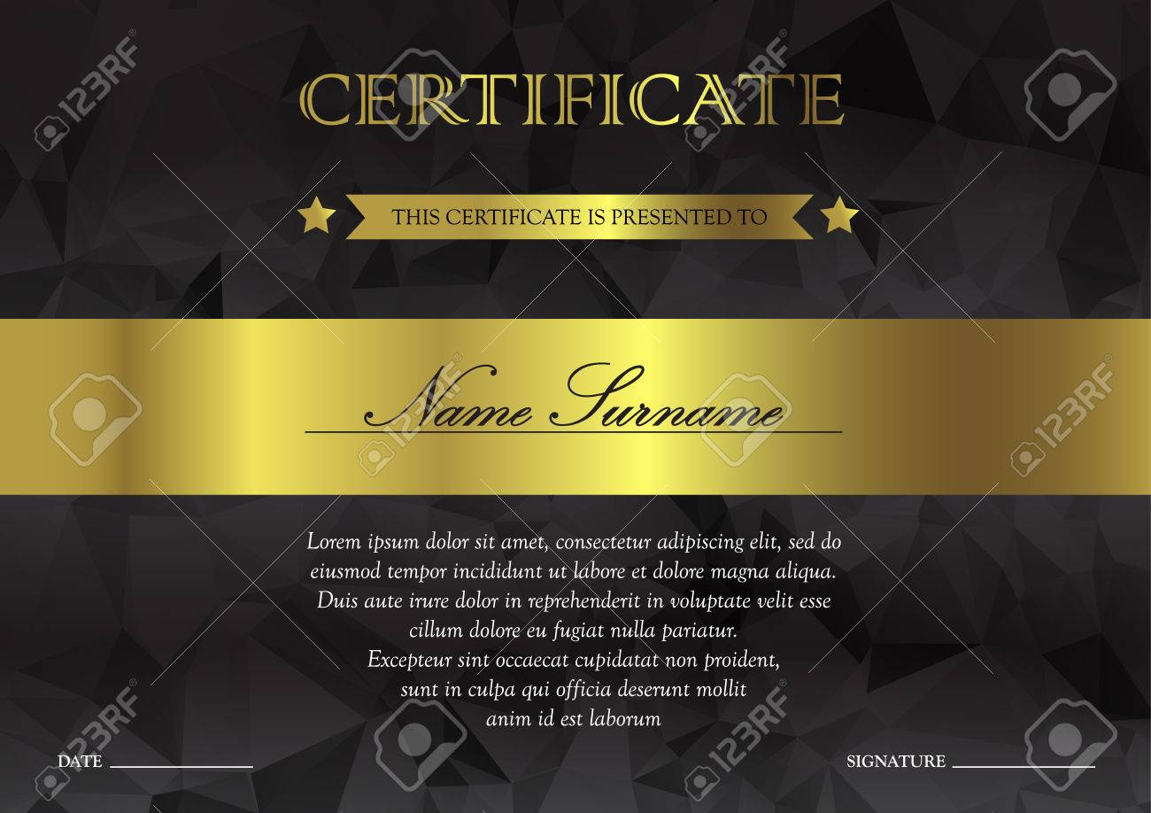 Horizontal Black Dark And Gold Certificate And Diploma Template