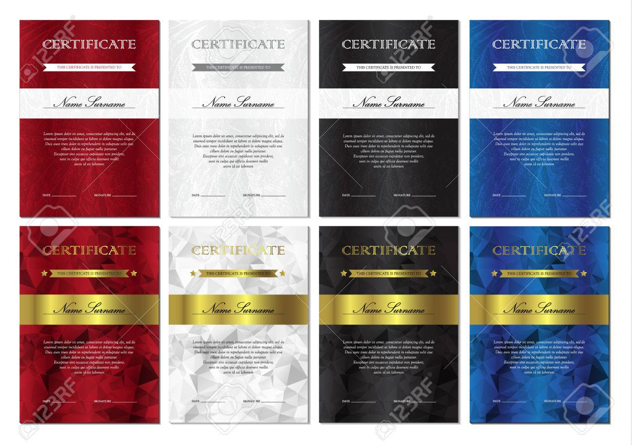 Vertical Red, White, Black And Blue Certificate And Diploma ...