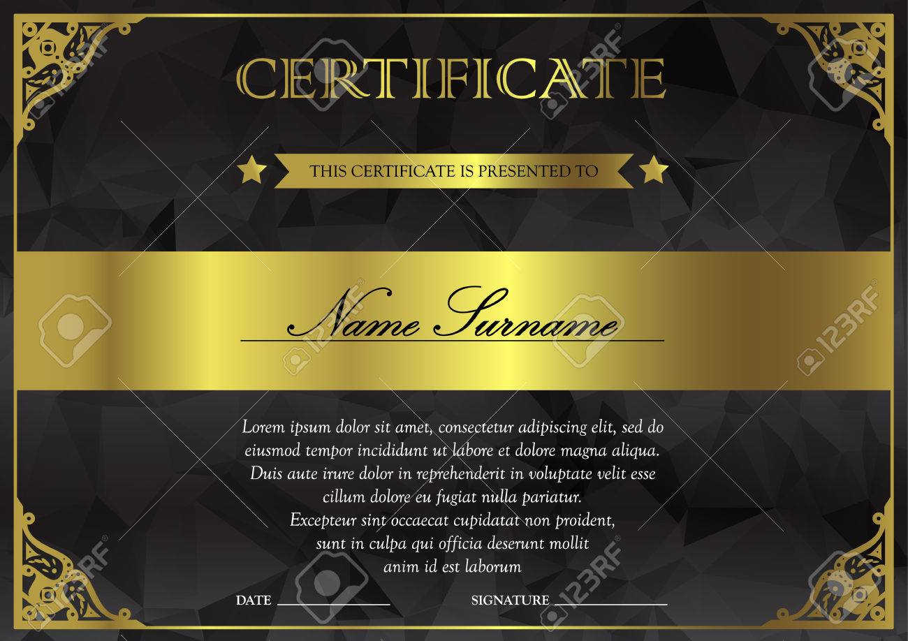 Horizontal Black Dark And Gold Certificate And Diploma Template ...
