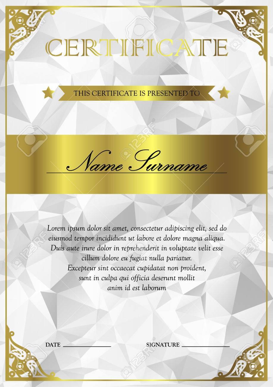 Plata Vertical Y Certificado De Oro Y Modelo Del Diploma Con La ...